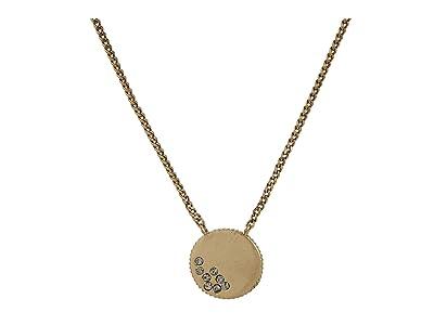 AllSaints Pave Mini Coin Pendant Necklace (Black Diamond) Necklace
