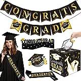 54PCS 2020 Graduation Party Kit Congrats Grad Banner Card Box Holder Centerpiece with Cap Shaped Advice Cards and Graduate Sash for Graduation Decorations Party Supplies Black Gold
