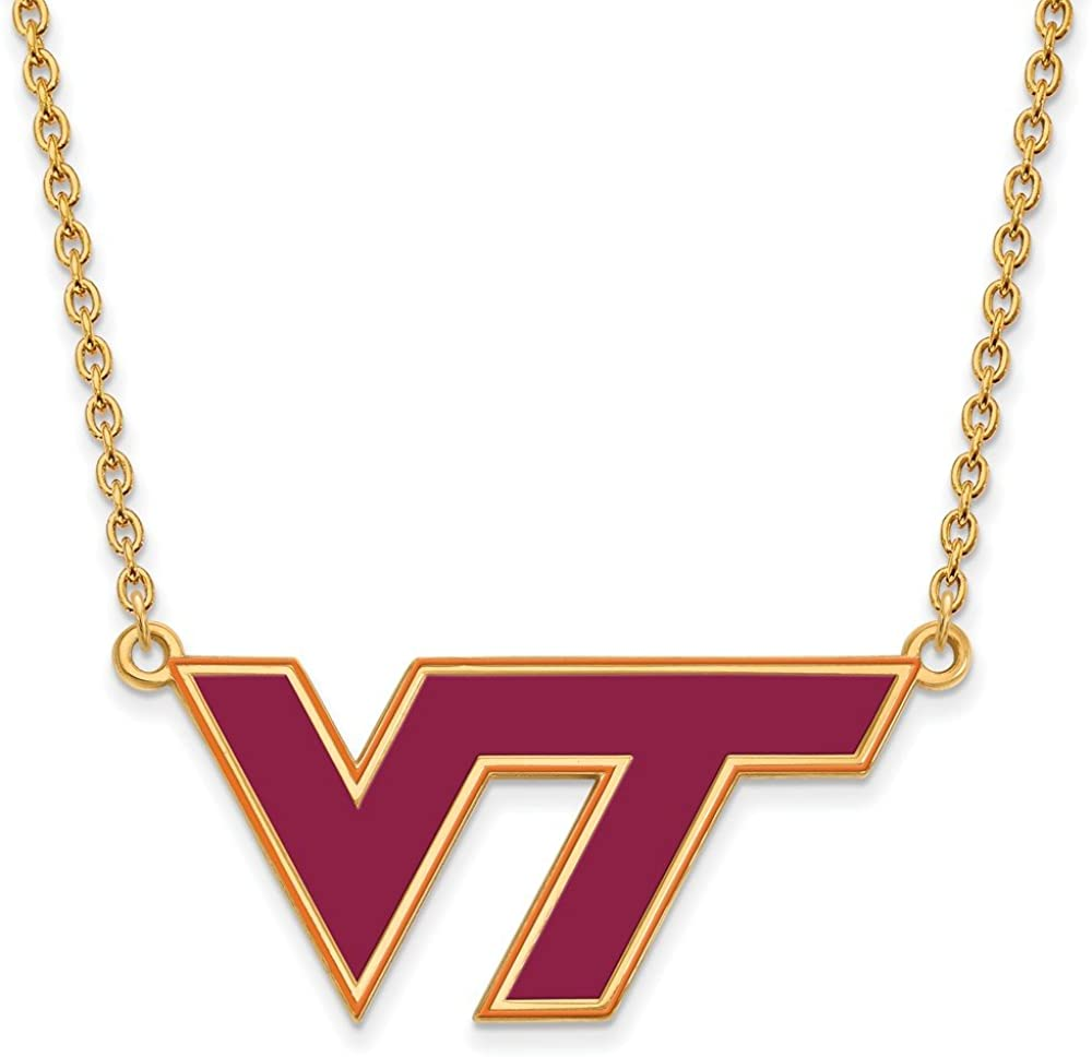 Width = 39mm 925 Sterling Silver Yellow Gold-Plated Official Virginia Tech Large Enamel Pendant Necklace Charm Chain