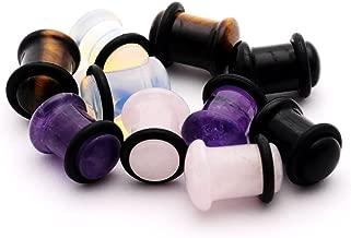 Mystic Metals Body Jewelry Set of 5 Pairs Single Flare Stone Plugs - Amethyst, Black Agate, Opalite, Tiger Eye, Rose Quartz
