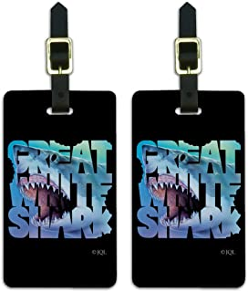 Great White Shark Bites Scuba Diving Luggage ID Tags Carry-On Cards - Set of 2