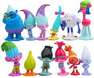 Jiahui Brand 12 Pcs Troll Toys, Mini Trolls Figures Collectable Doll, Trolls Action Figures, Cake Toppers, 1.18