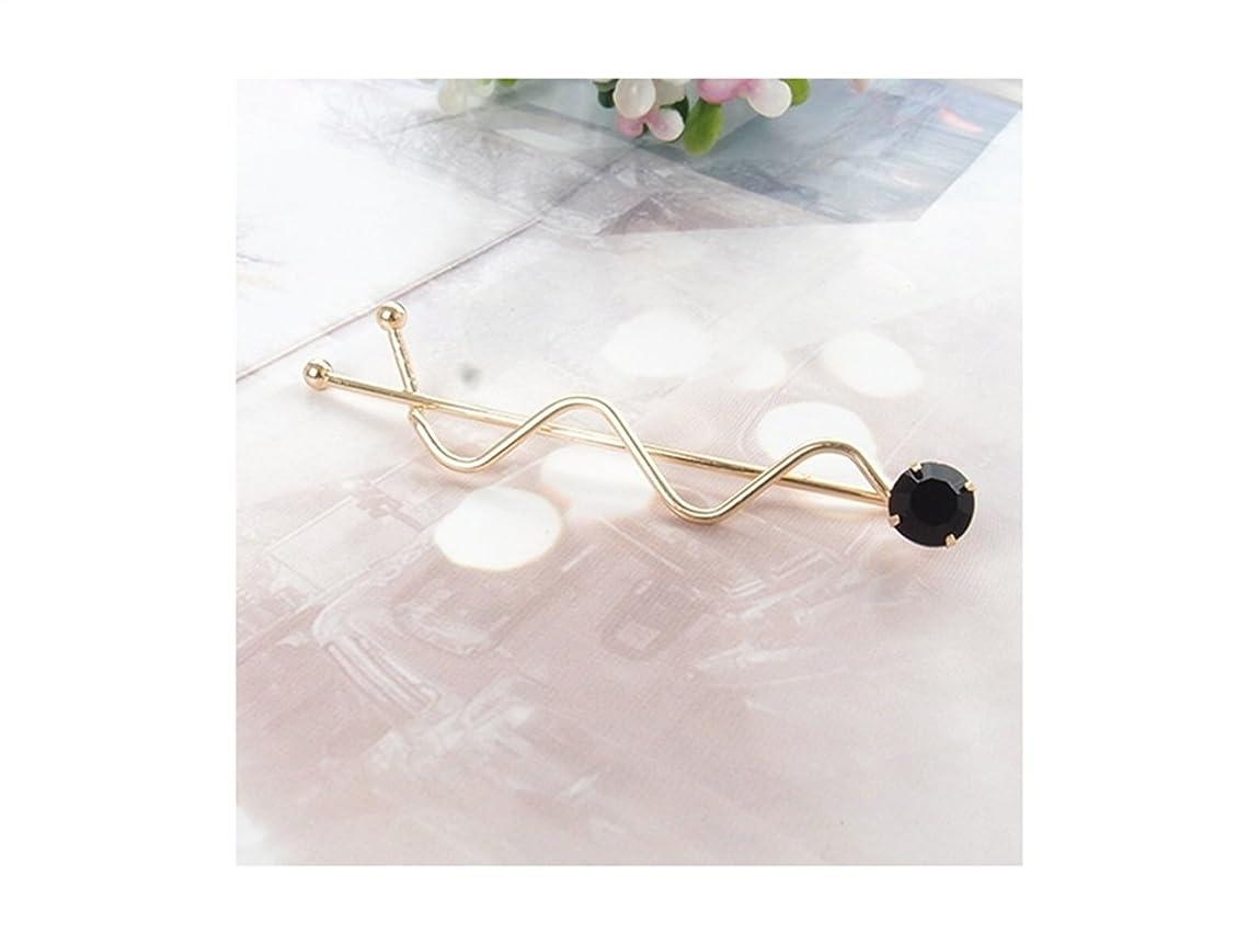 キリマンジャロ娘引き受けるOsize 美しいスタイル カラフルなラインストーンウェーブツイストクリップバース女性の女性のためのヘアクリップ(ゴールドブラック)