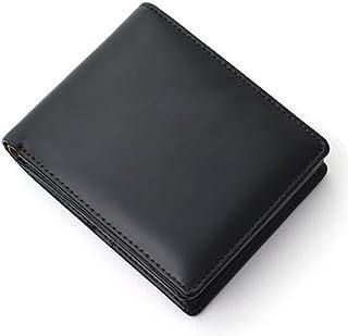 [Decoroso]  かっこいい大人の短財布 (馬革×牛革 CL-1220) (ブラック×ベージュ)