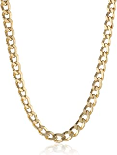 14K Solid Gold 3.8mm Cuban Curb Link Chain Necklace - Multiple Lengths And Colors Available