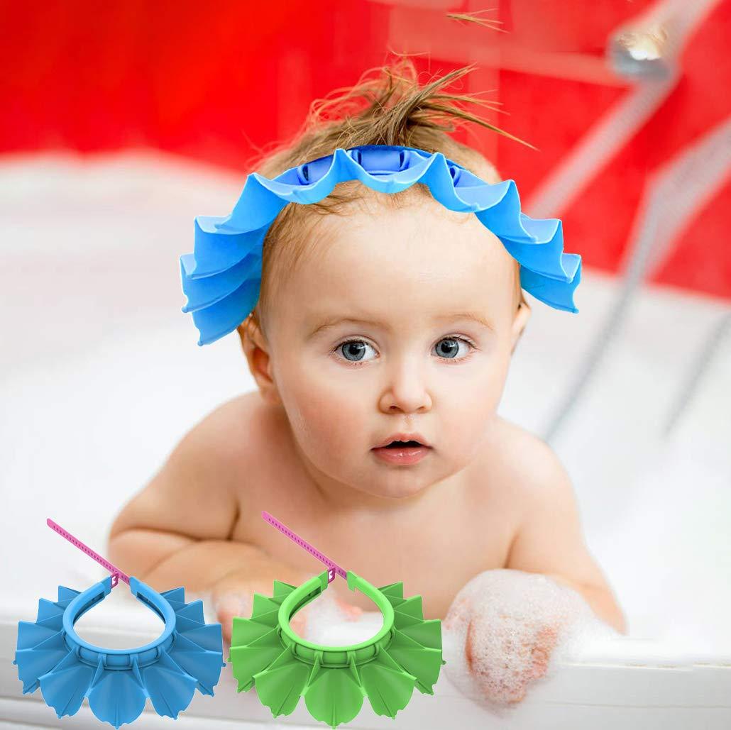 Baby Shower Cap Baby Silicone Shampoo Shower Bathing Cap Adjustable for Toddler Baby Kids Children (Blue+Green)