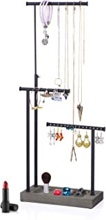 SRIWATANA Jewelry Organizer Display Extra Tall Necklace Holder 3 Tier Jewelry Tree Stand (Weathered Grey)
