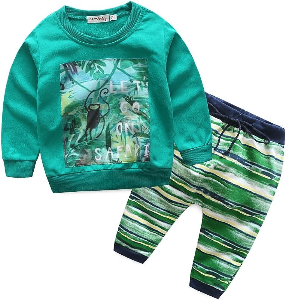 Boys Green Crewneck Sweatshirt Set Cotton Long Sleeve Green Pullover Tops Pants Outfits