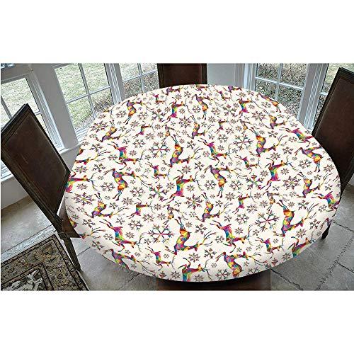 Mantel ajustable de poliéster con bordes elásticos, diseño geométrico de copos de nieve y animales, para mesas ovaladas/Olbong de 24 x 48 pulgadas, para fiestas, bodas, primavera Summ