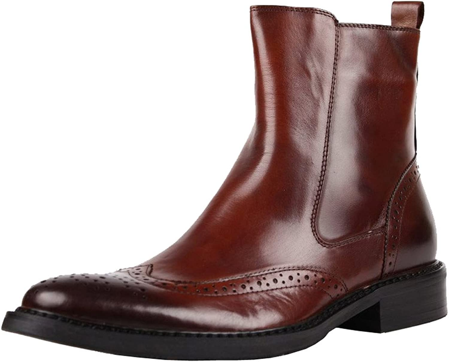 Jsix New Men's Real Leather Boots Brogues Side Zip Formal shoes