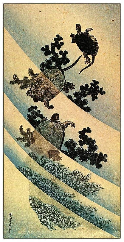 ArtPlaza TW90181 Hokusai Katsushika - Turtles Decorative Panel 23.5x43.5 Inch Multicolored