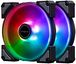InWin Crown Addressable RGB Twin Fan Kit 120 mm Fan High Performance Cooling Computer Case Static Pressure Modular Fan with Adjustable RGB Controller, Black