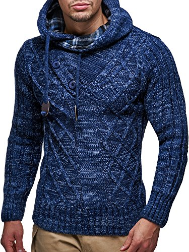 Leif Nelson Men's Knitted Pullover | Long-sleeved slim fit hoodie | Basic winter hoodie-sweater for Men