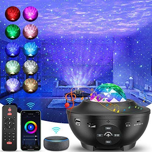 Galaxy Projector,Smart WiFi Star Projector Sky Lite, 4 in 1 LED Lights Night Light with Alexa and Smart App, Ocean Wave Projector with Bluetooth Speaker, Voice Control for Lights for Home Theatre