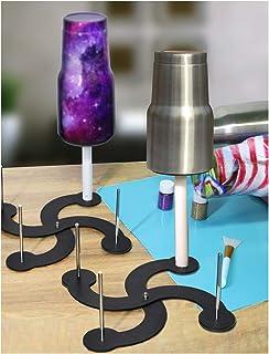 حامل حامل تجفيف لكأس دوارة ، 4 أكواب تيرنر تجفيف في الوقت المحدد DIY Craft Glitter Epoxy Cup Holder ، مادة فولاذية غير مؤل...