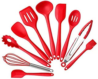 Alician 10PCS Silicon Cooking Tool Set for Non-Stick Pan Exquisite Kitchen Ware red