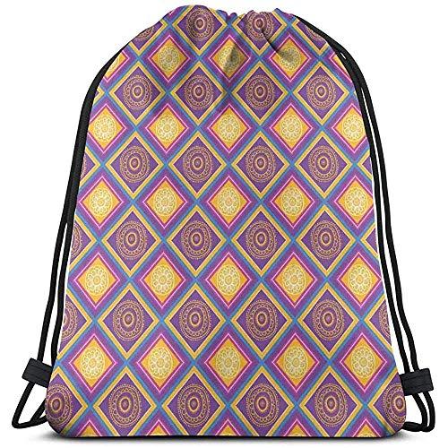 Bolsa de cordón con cordón para atraer mosaicos étnicos asiáticos con motivos culturales tradicionales,cuadrados diagonales,azulejos de rombo,bolsas de gimnasio,bolsa de viaje,paquete deportivo cinch