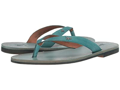 Frye Azalea Logo Flip-Flop (Turquoise Antique Veg Tan) Women