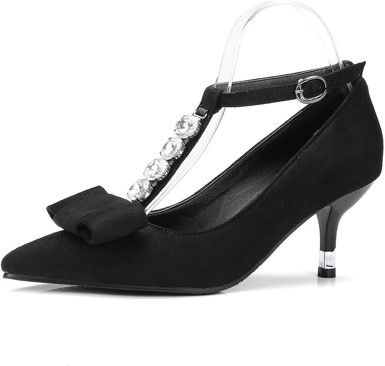 DecoStain Women's T Strap Bow Tie Mid Kitten Heels Sandals Party Evening Work Dress shoes