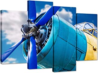 iHAPPYWALL 4 Piece Canvas Wall Art Blue Propeller and Engine of Vintage Airplane Over Sky Picture Print On Canvas Framed Ready to Hang for Home Wall Decoration