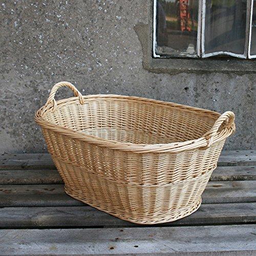 BIENENKORB24 Wäschekorb oval 60 cm - Weide Natur