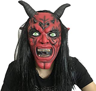 LUHUAISH AU Halloween Long Hair Red Face Trumpet Mask Carnival Bar Scary Devil Scary Set Red Face Black Mask