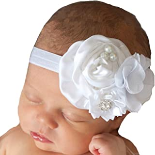 Miugle Baby White Headbands,Baby Girl Flower Headbands,Newborn Headbands,Baby Bows