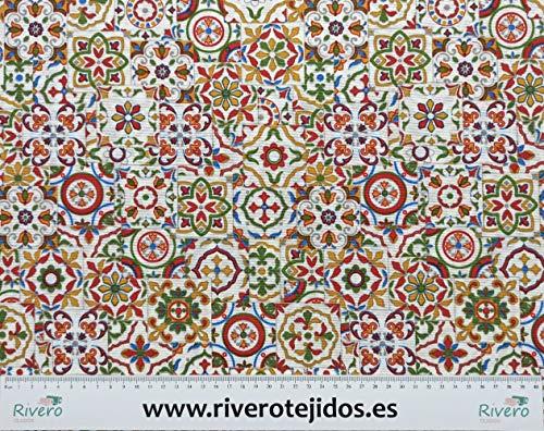 Desconocido RIVERO Tejidos. Tejido de loneta con Estampado de Azulejos pequeños de Colores con 280 cm de Ancho. Se Vende por Metros. Ideal para Cortinas, manteles.