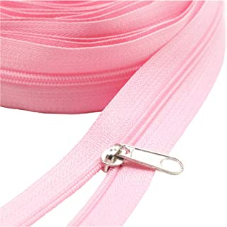 MebuZip #3 Nylon Coil Zippers by The Yard Bulk 10 Yards + 25PCS Silver Pulls for Sewing, Bags, Crafts, Decorating (Pink Co...