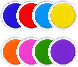 Ansley&Hosho 8 Rainbow Color Washable Craft Ink Pad for Fingerprints Birth Footprint Rubber Stamps Partner DIY for Office Usage Kids Gift