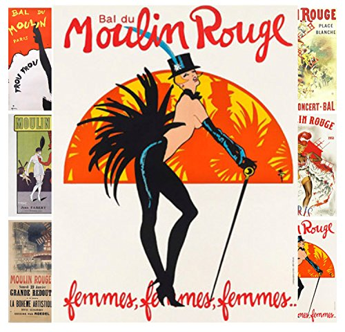 Mini Posters Pack [12 sheets 8'x11'] Moulin Rouge Burlesque Vintage Poster