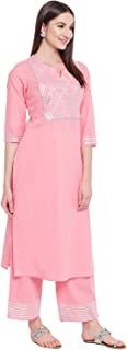 Khushal K Women's Cotton Kurta With Palazzo Set (Light Pink)