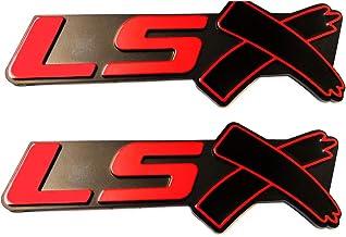 2x Red Silver LSX ABS Letter Banner Rear Fender Emblem Badge Sticker for Camaro