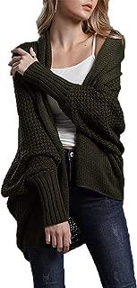 HZSONNE Women's Casual Long Bat Wing Sleeve Open Cardigan Chunky Crochet Slouchy Wrap Sweater Blouse Knitted Tops