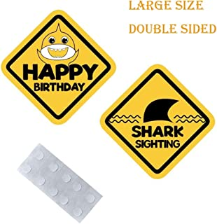 Vodolo Large Birthday Caution Signs/Shark Signs for Kids Birthday ,Baby shower ,Bride shower ,Construction themed Party Decorations