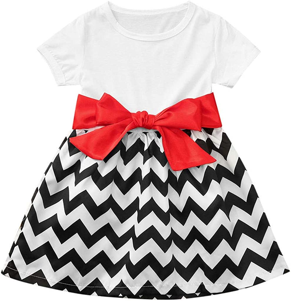kaiCran Family Matching Dresses Mommy and Me Summer Round Neck Splicing Waved Bowknot Tie Up Beach Mini Sundress