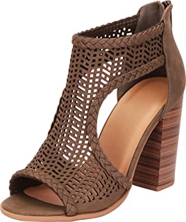 db8ca86fb2a52 Cambridge Select Women's Open Toe Laser Cutout Caged Chunky Block High Heel Ankle  Bootie