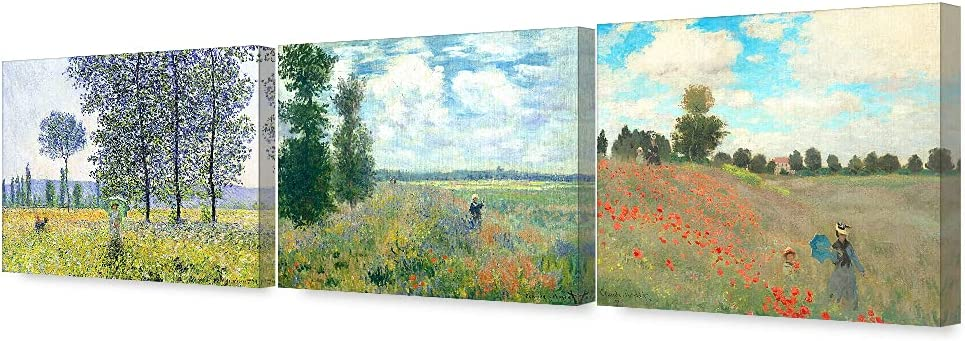 DECORARTS - The Mountain View Claude Ranking TOP13 Triptych Series Monet Art Manufacturer regenerated product