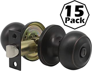 Gobrico Keyless Privacy Haandle Knob Interior Door Lockset for Bed/Bathroom Oil Rubbed Bronze Finished Pack of 15