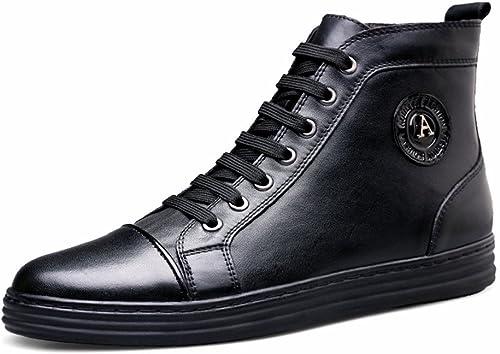 WOJIAO Bottes Hautes en Cuir pour pour pour Homme - Style décontracté - pour Hommes - Chaussures Plates en Cuir - Noir - Noir, 39 EU a0f