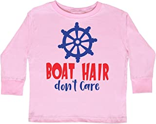 inktastic Boat Hair Don't Care, Steering Wheel - Red Toddler Long Sleeve T-Shirt