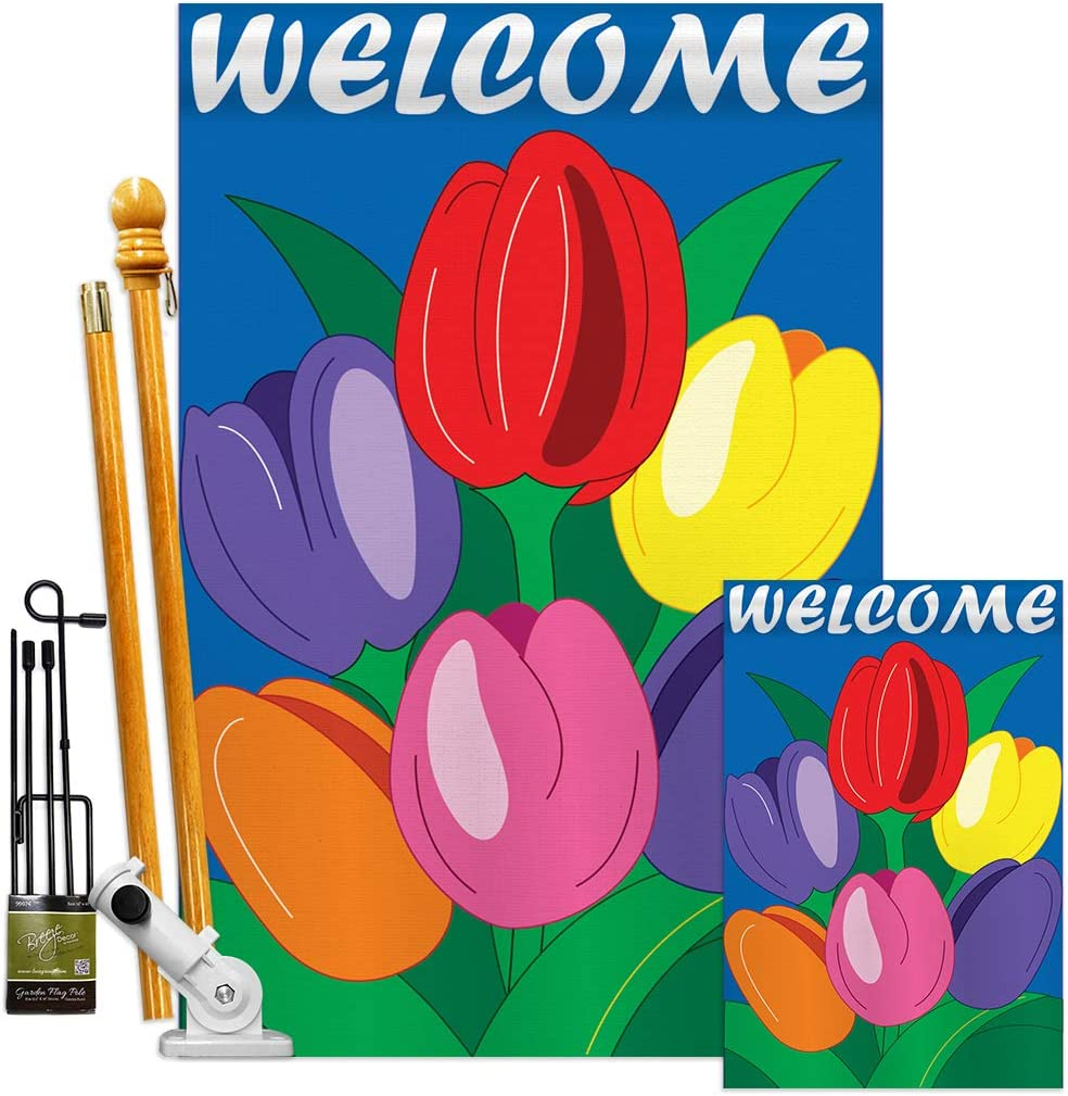 Floral Regular discount Welcome Tulips Garden New item House Kit Tu Flags Spring Sunflower