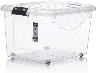 HOUZE Motif Storage Box with Wheels, 30L, (SB-1111-CLEAR)