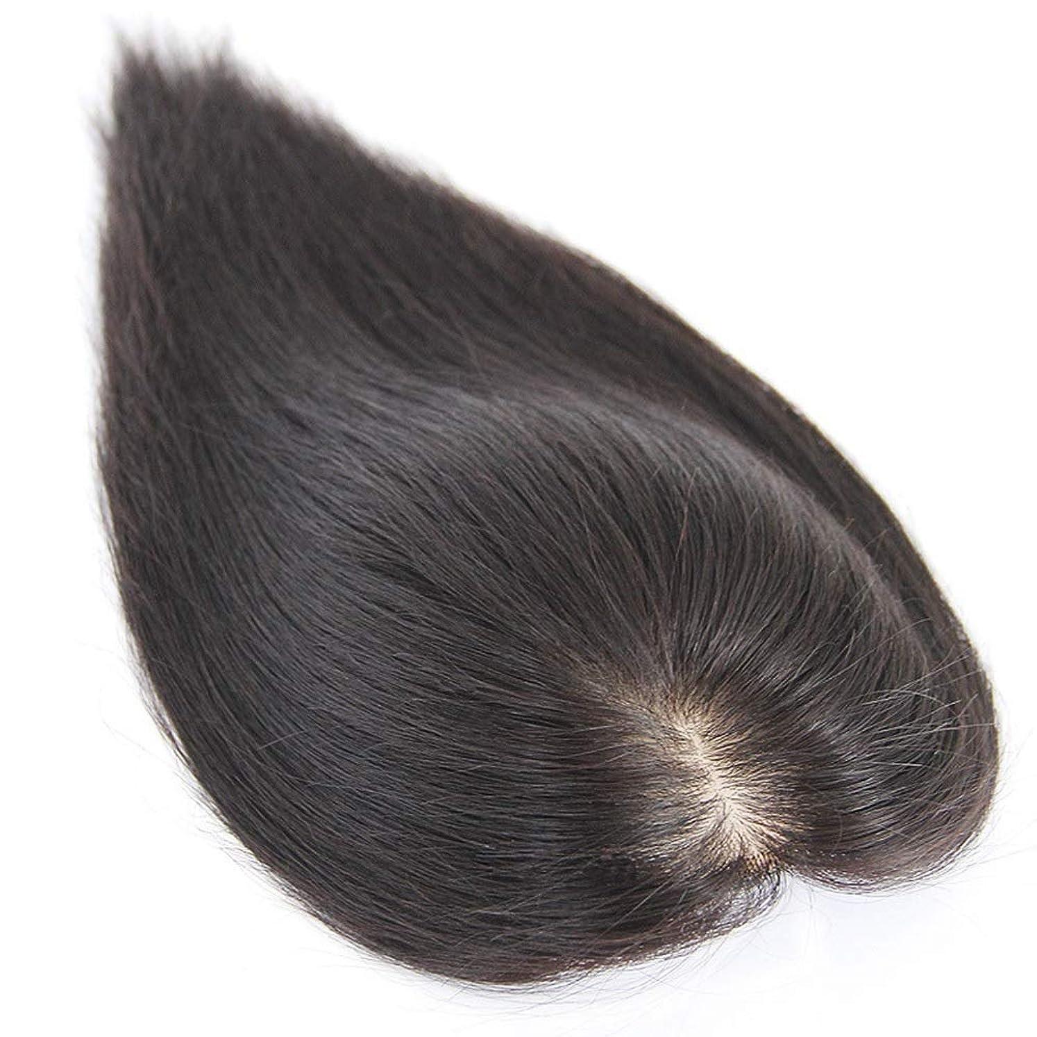 工場意味する羨望YESONEEP 女性のための本物の髪のダブルハンドニードルクリップは、白髪を増やす毛量ウィッグパーティーかつらをカバー (色 : Dark brown, サイズ : [13x14] 20cm)