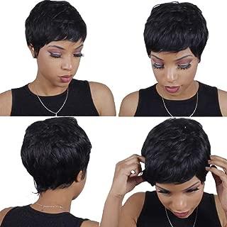 DLME Virgin Hair Brazilian 28 Pieces Weave Short Human Hair With a Closure and Cap Virgin Brazilian Hair Extension (1B#)