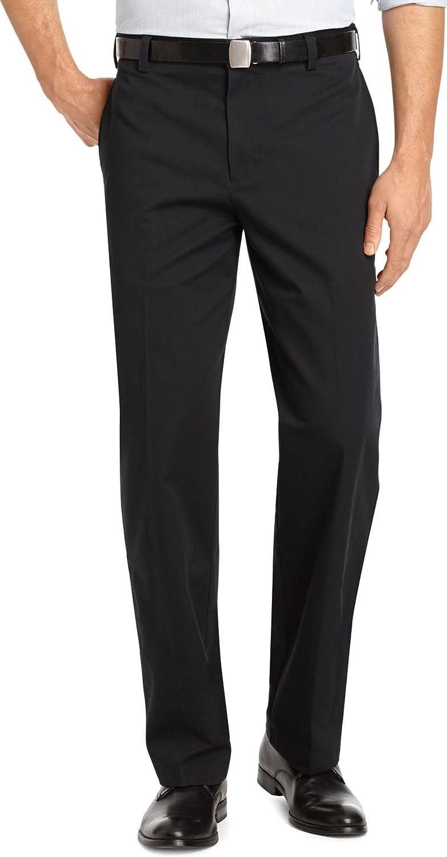 Izod Big and Tall Pants, Wrinkle-Free Legacy Chino Flat Front Pants, Black (48W 32L)