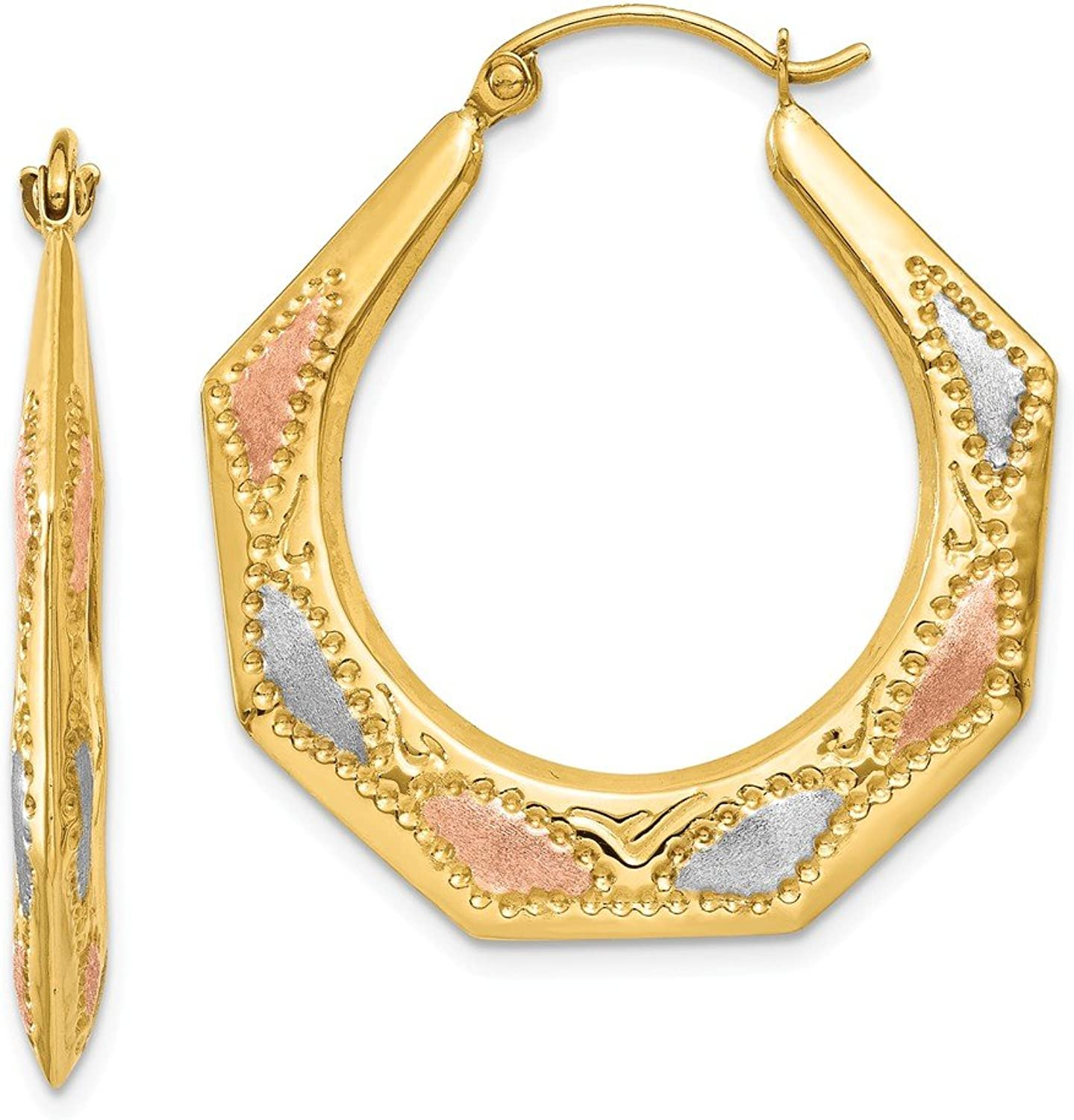 Beautiful rhodium plated gold and silver 14K rhodiumplatedgoldandsilver 14K & White and pink Rhodium Hollow Hoop Earrings