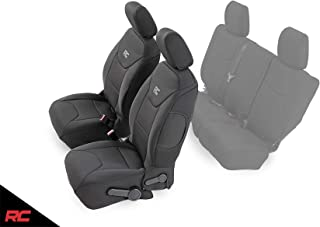 Rough Country Neoprene Seat Covers Front Black Compatible w 2013-2018 Jeep Wrangler JK 4DR Custom Water Resistant 91004F