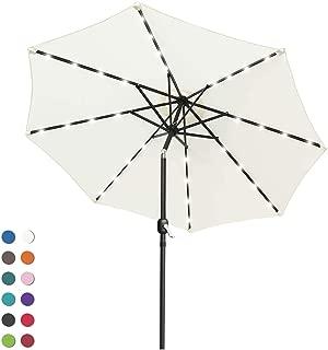 ABCCANOPY Patio Umbrella Ourdoor Solar Umbrella LED Umbrellas with 32LED Lights, Tilt and Crank Table Umbrellas for Garden, Deck, Backyard and Pool,12+Colors, (Light Beige)