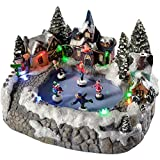 WeRChristmas 23 cm Sitting Scene with 5-Children Skating/Colourful Led Lights Decoration